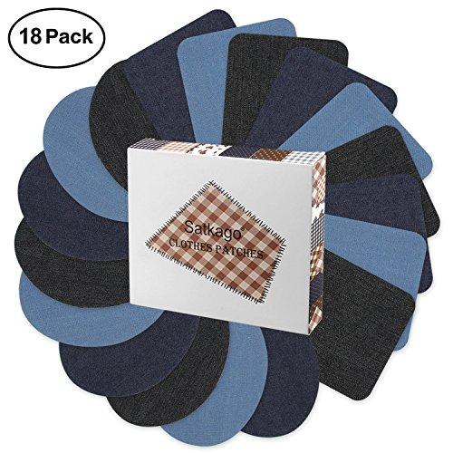 Patches zum aufbügeln, Satkago 18 Stück 3 Farben Jeans Flicken DIY Applikationen Zum Aufbügeln für Kleidung