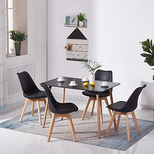 H.J WeDoo Rechteckig Esstisch Buchenholz für 4-6 Stühle Esszimmertisch Küchentisch MDF Schwarz 110 x 70 x 73 cm -