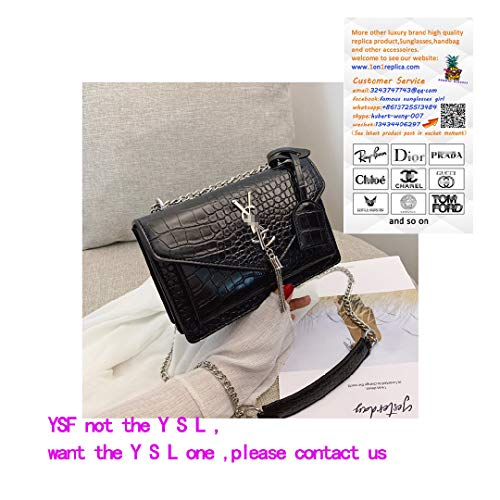 Classic Crocodile Snake Pattern Leather Evening Chain Satchel Crossbody Tote Bag Cultches for Women Wallet- Black Serpentine -