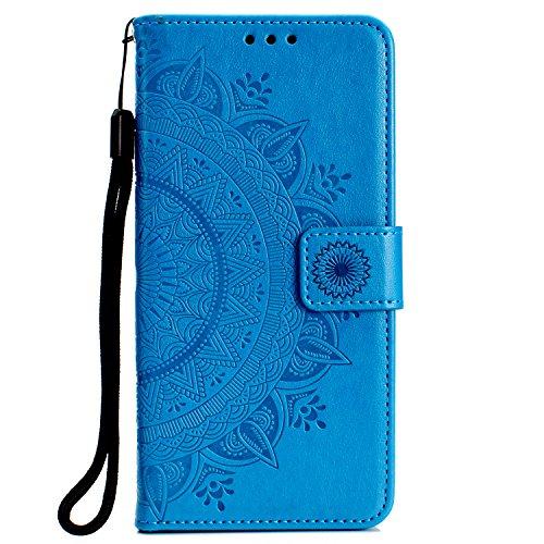Samsung Galaxy J6+ 2018 / J6 Plus Funda Libro, Carcasa con Tapa Flip Case Antigolpes Cartera Billetera PU Cuero Polipiel Suave para Samsung Galaxy J6+ 2018 / J6 Plus - Mandala Azul