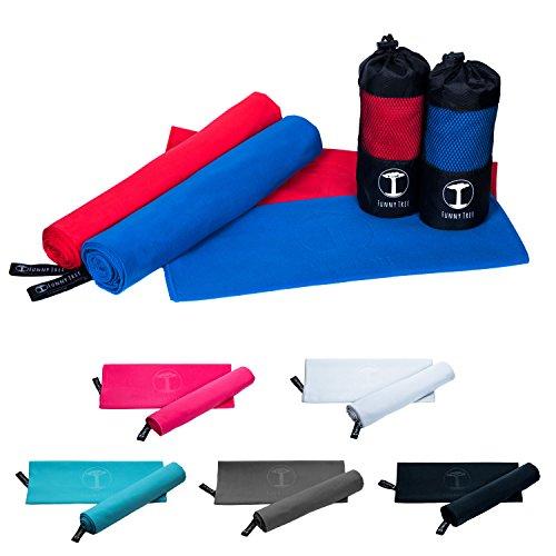 Funny Tree® Mikrofaser Handtuch (royal blau) 70x140cm | schnelltrocknend antibakteriell platzsparend Ultraleicht, perfekt für Reisen Sport Yoga Fitness Strand