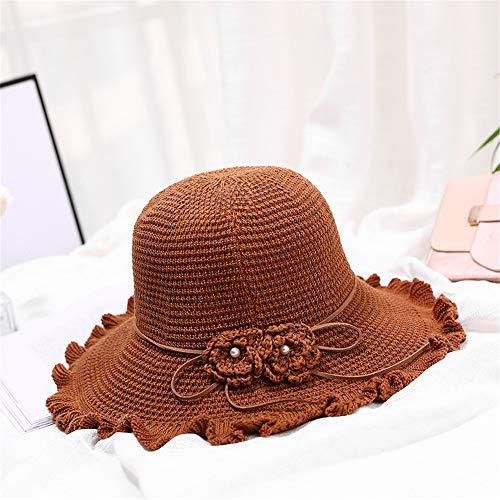 hat-maihef o Sombrero para el Sol con Volantes Dos Flores Sombrero Plegable para el Sol Sombrero de Pescador Camel Talla única