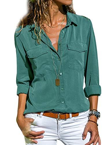 Tunique Femme Grande Taille, Chemisier Chic Femme Blouse Fluide Manches Longues Col Rabattu Tee Shirt Blouses et Chemises Basique Casual T Shirt Haut To