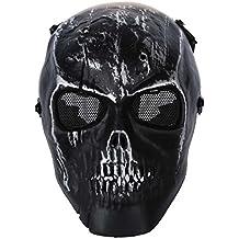SODIAL(R) Ejercito esqueleto craneo Airsoft Paintball BB Pistola completo la cara del juego Proteger la mascara de Segura - Plata Negro