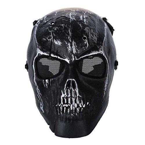 SODIAL(R) Army Skull Skeleton Airsoft Paintball BB Gewehr Vollgesichtsmaske Spiel sicher schuetzen - Silber Schwarz