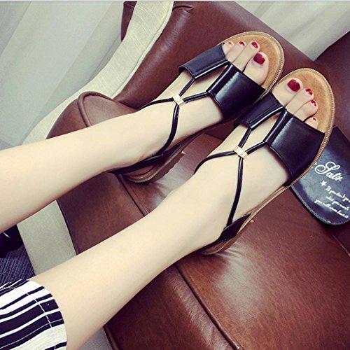 DM&Y 2017 sandali scarpe da donna Europa e diamanti perline sandali piani studenti Black