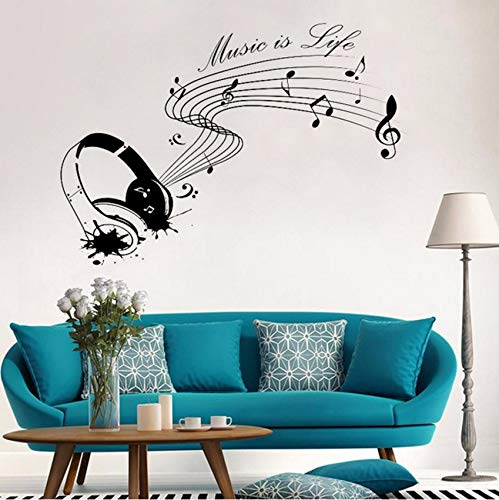 (Fushoulu 42X62CmMusik Ist Leben Mit Kopfhörerwandaufkleberwandbild Inspiration Text Für Künstler Musiker Vinyl Aufkleber Wohnzimmer Wohnkultur)