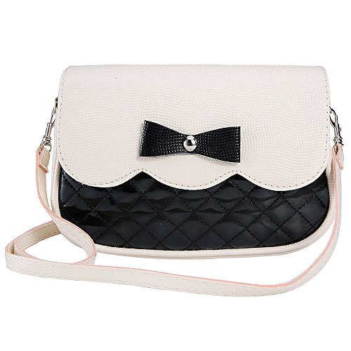 Women Shoulder Bags, Rcool Women Girls Fashion Bowknot Leather Shoulder Bag Cross Body Bag Purse Handbag Messenger Bag (Black)