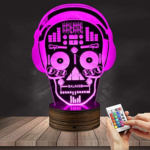 ZCLD Illustration Kunst DJ Skeleton Kopfhörer Sound Mixer Nachtlichter Musik Schädel Tatoo Kopfhörer LED Lichter Lampe für Freunde Weihnachtsgeburtstagsgeschenk