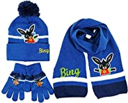 e plus m set 3pz cappello sciarpa guanti bambino bing blu