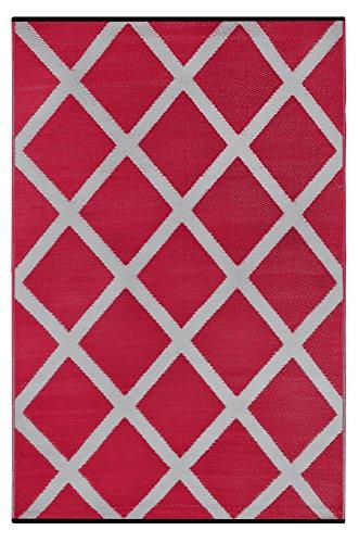 Outdoor-rot-teppich (Grün Deko-wendbar-leicht Kunststoff Teppich Diamant Rot \ hellgrau–3X 5ft (90x 150cm), rot/grau)