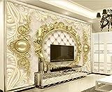 Carta Da Parati Muro 3D Lusso Modellata Sullo Sfondo D'Oro Europeo Soft Pack Muro Fotomurali Murale 3D Moderni