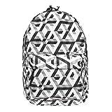 Vintage Le cartable scolaire le sac à dos scolaire le cartable d'enfant des jeunes pour la piscine le sac des jeunes le sac à dos Blanc Noir Cube Illusion [005]