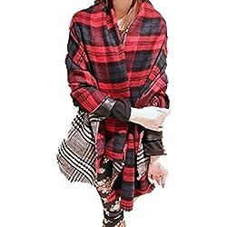Lady cuello cálido tartán a cuadros escoceses reversible chal bufanda Wrap robó la Navidad Regalo