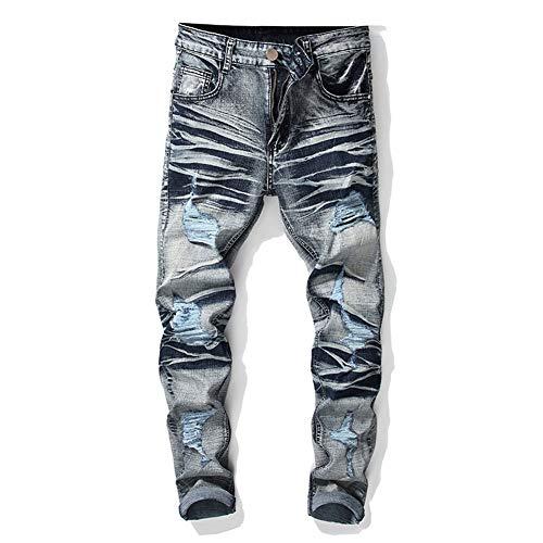 s Herren elastische Kraft High-End-Hose Mittlere Taille Gerade Reißverschlussöffnung Bleaching Gewaschen Mikroelastisch Mode Herren Jeans,42 ()