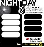 Yellow BearTMkit de 4 Stickers rétro réfléchissants 3M ScotchliteTM Material, Noir, pour Casque Moto, Tailles homologuées Visible la Nuit pour Votre sécurité