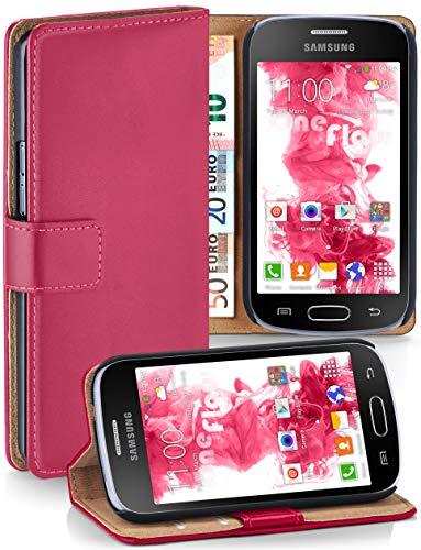 moex Samsung Galaxy Trend Plus | Hülle Pink mit Karten-Fach 360° Book Klapp-Hülle Handytasche Kunst-Leder Handyhülle für Samsung Galaxy Trend Plus/Trend Case Flip Cover Schutzhülle Tasche