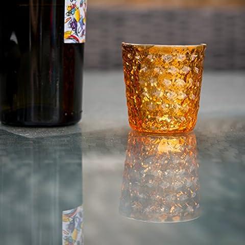 Insideretail-Porta lumini con bolle, effetto vintage, in vetro, colore: arancione, 7 cm, confezione da