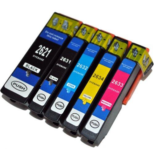 Preisvergleich Produktbild 5 kompatible XL Druckerpatronen mit Füllstandsanzeige für Epson Expression Premium XP-510 XP-600 XP-605 XP-610 XP-615 XP-700 XP-710 XP-800 XP-810 Patronen kompatibel zu T2621 T2631 T2632 T2633 T2634