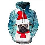 SEWORLD Weihnachten Sweatshirt Kapuzenpulli im Freien Damen Langarm Warmer mit Kapuze Sport Lose Drucken Outwear Pullover Tops Bluse(Blau,EU-46/CN-L/XL)