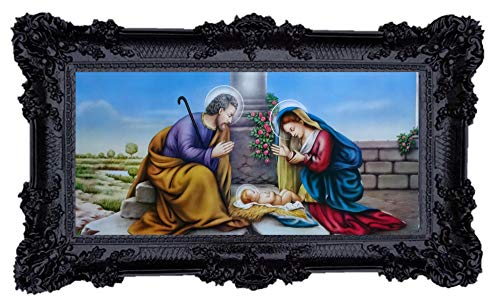 Geburt Jesus Mutter Maria Jungfrau Madonna Mutter Gottes heilige Maria Ikonen Bild Repro Barock Antik Look gerahmtes Gemälde mit Ornamentverziehrungen in den Rahmen montiert Repro 96x57cm (Schwarz)