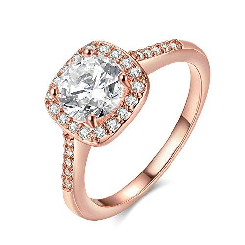 Jiedeng Schmuck Damen Ringe aus Rose Gold Vergoldet Ring mit Zirkonia CZ Verlobungsringe Trauringe Ehering Hochzeitsringe für Damen Frauen Ringe Rose Gold (mit Geschenk Tüte) Größe 49 (15.6)