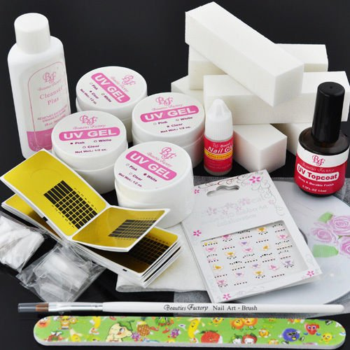 BF New Professional UV GEL NAIL KIT + 5 fichiers blocs conseils ration formes ongle Deco Kit #141