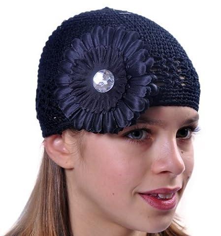 Style Nuvo - Bonnet Crocheté Modèle Pour Fille, Chapeau Avec Belle Fleur Article Boutique! - Taille unique, Noir