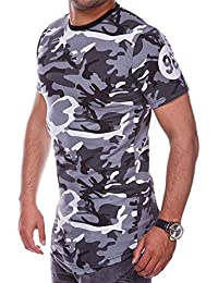 MT Styles Oversize T-Shirt SHAK Camouflage manches courtes - homme - RS-945 [gris, S]