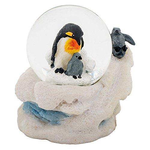 Cadona International, Inc Mama Pinguin und Küken 3x 3Miniatur 45mm Water Globe Tisch Top Figur -