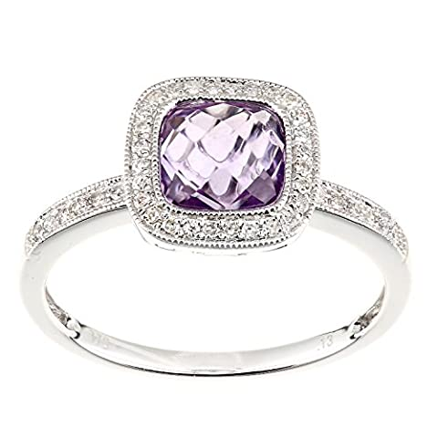 Naava Femme 9 carats (375/1000) Or blanc Coussin Violet Amethyst Diamant
