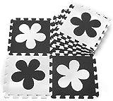 ZZYY Umweltschutz EVA Bubble Puzzle Kinder Spielzimmer Sport Fußmatten 4 Farben mit 4 Formen Muster (30 Stücke, Schwarz & Weiß Blumen)