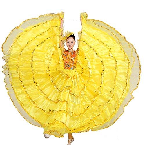 Tanz Swing Ballroom Kostüme (Byjia Frauen Flamenco Kleid Langer Rock Öffnung Tanz Blühende Blüte Big Swing Chorus Moderne Performance Kostüme Bühne Praxis Kleidung Yellow)