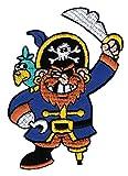 Pirat mit Papagei und Holzbein Aufnäher Bügelbild