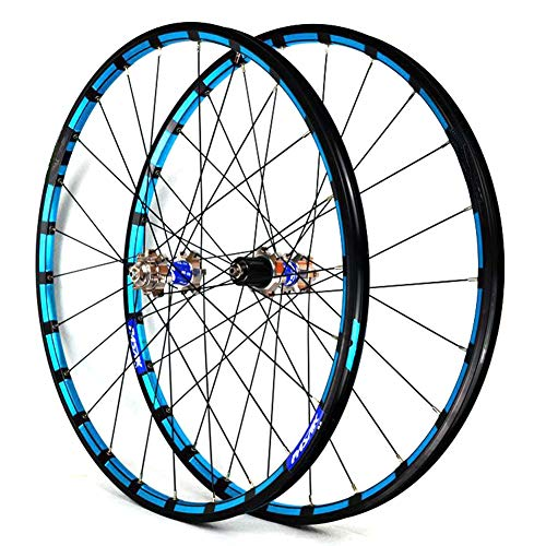 "LHLCG 27.5""Mountain Bike Wheel Set Aluminum Alloy Color Ring Straight Pull Palin Disc Brake Wheels,titaniumbluedrumbluecircle"