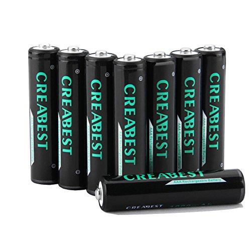 Creabest 1000mAh Ricaricabili AAA Ni-MH Batterie,1200 Cicli, Confezione Da 8 Pezzi