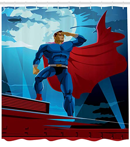ABAKUHAUS Superheld Duschvorhang, Retro Cartoon-Helden, mit 12 Ringe Set Wasserdicht Stielvoll Modern Farbfest und Schimmel Resistent, 175x180 cm, Blau ()