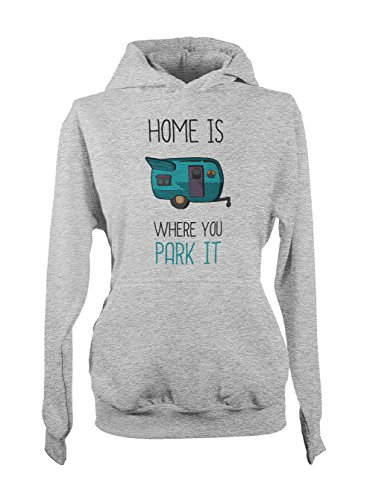 Home Is Where You Park It Amusant Camping Camper Holiday Femme Capuche Sweatshirt Gris