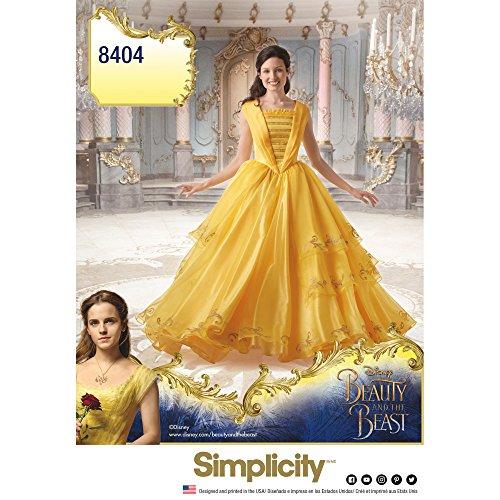 Simplicity 8404 Disney - Disfraz de Bella y la Bestia para Mujer, Papel, Color Blanco, 22 x 15 x 1 cm