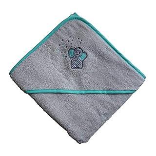 Arle-Living® Baby Kleinkinder Kapuzen-Handtuch bestickt mit Elefant Motiv Silber Mint 100x100 cm Frottee Baumwolle (Silber)