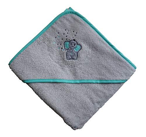 Arle-Living® Baby Kleinkinder Kapuzen-Handtuch bestickt mit Elefant Motiv Silber Mint 100x100 cm Frottee Baumwolle (Silber) (Kapuze Kleinkind Handtuch)