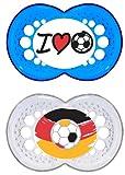 MAM Original Silikon Schnuller 'Football'-Kollektion im 2er-Set, besonders sanfter Schnuller, Baby Schnuller aus speziellem MAM SkinSoft Silikon mit Schnullerbox, 6-16 Monate, blau