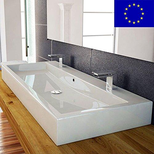 Preisvergleich Produktbild Design Waschbecken 100cm zur Wandmontage oder als Aufsatzwaschbecken mit 2 Armaturlöcher | 100x42x10cm | Material: hochwertiges Mineralguss | hochwertig verarbeitet | Qualität MADE IN EU