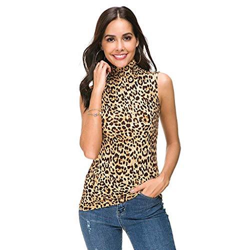 POLP Camisetas Sin Mangas Mujer Estampado de Leopardo de Cuello Alto Blusa Camisa Mallas y Bodies de Fiesta Casual Shirt tee Tank Tops S-XL