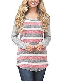 Chicolife mujeres de algodón de punto cuello redondo camiseta túnica cómodo Jersey rayas Camisera
