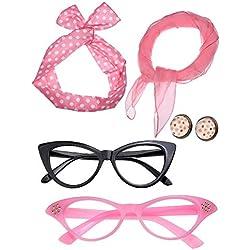 Juego de Accesorios de Disfraz de Mujer de los Años 50 Bufanda Diadema Pendientes Gafas de Ojo de Gato para Fiesta (Conjunto de Colores 3)