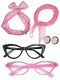 Donna Anni 50 Accessori Costume Set Ragazza Sciarpa Fascia per Capelli Orecchini Occhiali Occhio di Gatto per Festa (Colori di Set3)
