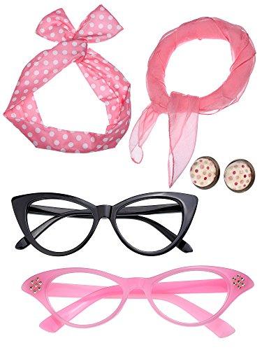 Damen 50 Jahre Kostüm Zubehör Set Mädchen Schal Stirnband Ohrringe Cat Eye Brille für Teily...