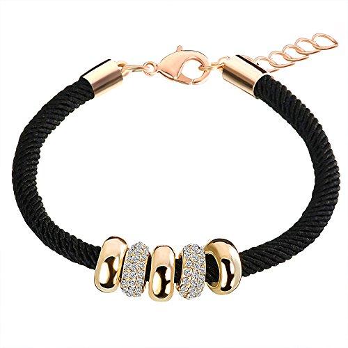 BAVALO Einfache Rutsche Perlen Designer Österreichischen Strass Vergoldet Seil Charme Armbänder Kette Hummer Schmuck für Frauen
