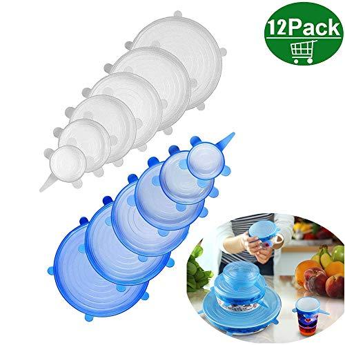 Kitteny coperchi silicone,12 pack di diverse dimensioni coperchio in silicone per alimenti, riutilizzabile ed espandibile coperchio per tazza per pentole e freezer - bpa free
